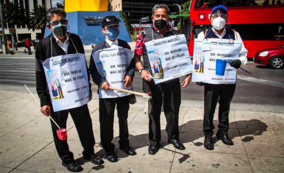 Seniors marched in protest against Walmart Wednesday in Mexico City.