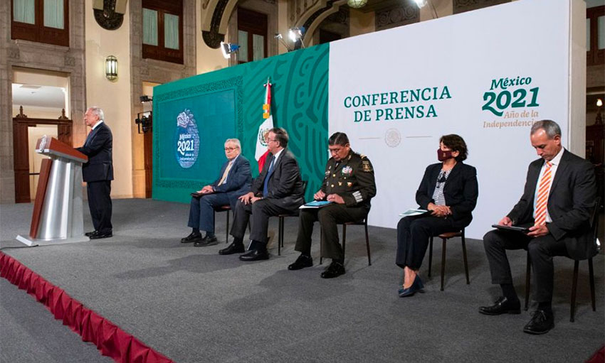 Five ministers await their turn to report at Tuesday's press conference
